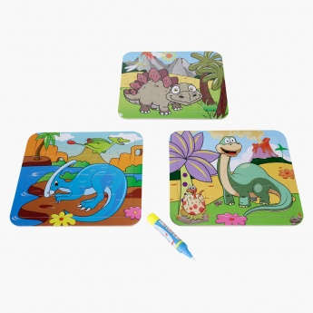 Juniors Dinosaur Water Doodle Puzzle Card - Set of 3