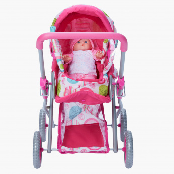 Content Floral Print Doll with Pram Set