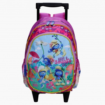 The Smurfs Printed Trolley Bag with Two Wheels