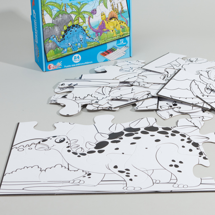 The Dinosaur 24-Piece Puzzle and Painting Set