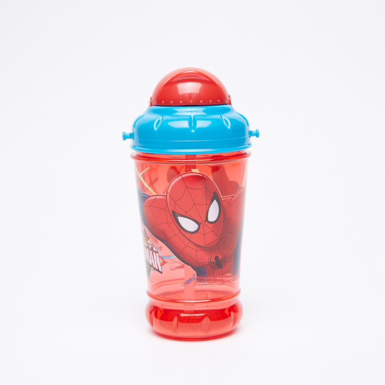 Spider-Man Printed Water Bottle with Straw and Handle