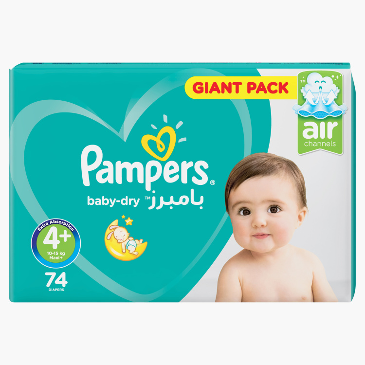 Pampers Baby-Dry Maxi Plus Size 4+, 74-Diapers Mega Pack - 9 to 16 kgs