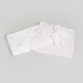 Juniors Hearts Printed 3D Bunny Applique Blanket - 75x75 cms