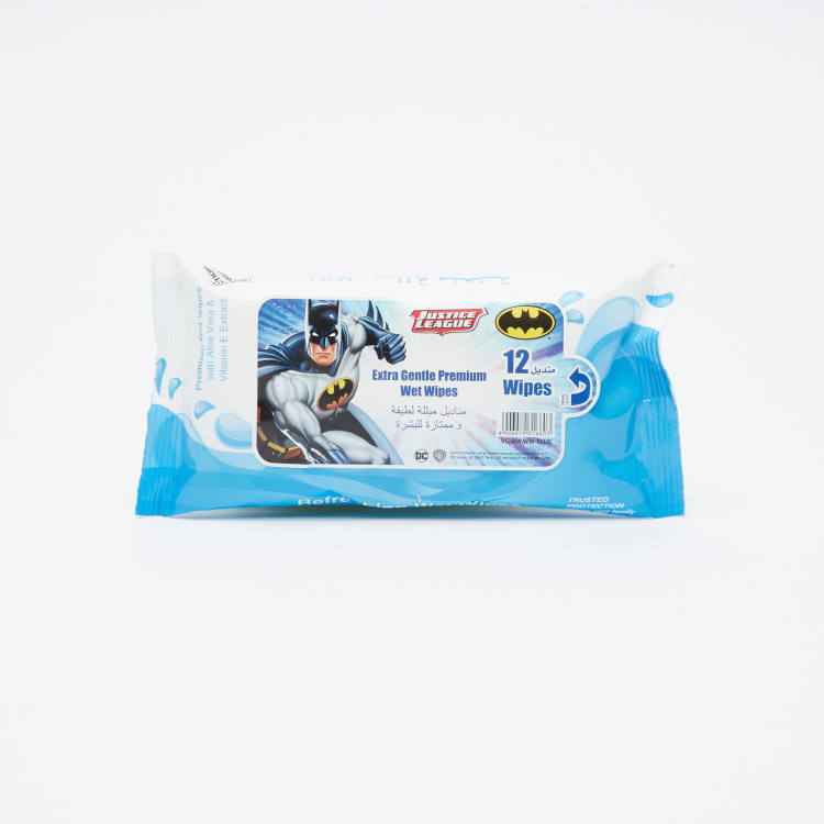 Justice League Extra Gentle Premium Wet Wipes - Pack of 12