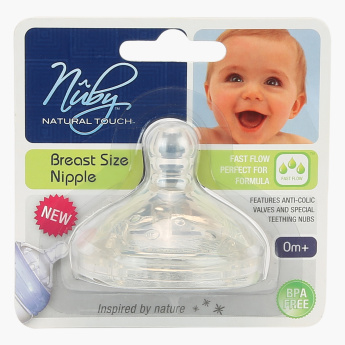 Nuby Anti-Colic Wide Neck Teats - Set of 2