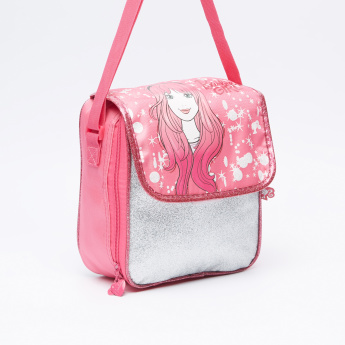 Barbie Printed Lunch Bag with Zip Closure and Adjustable Strap