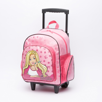 Barbie Printed Trolley Backpack with Zip Closure and Adjustable Straps