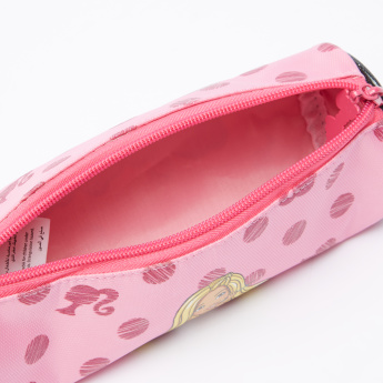 Barbie Printed Round Pencil Case with Zip Closure