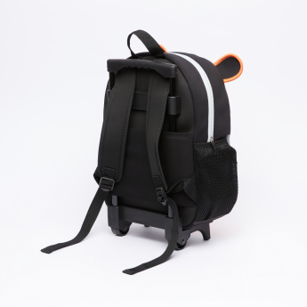 Printed Trolley Backpack with Zip Closure