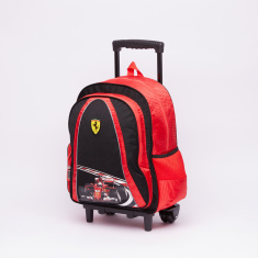 Ferrari Printed Trolley Backpack with Zip Closure