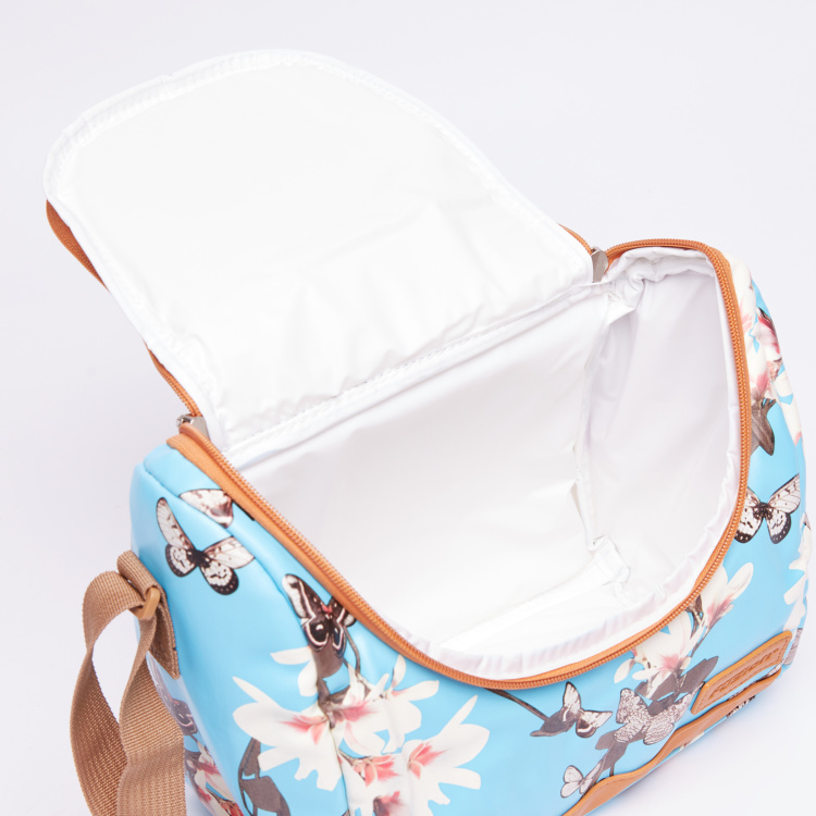 Simba Floral Printed Lunch Bag with Zip Closure and Adjustable Strap