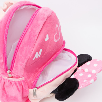 Minnie Mouse 3D Plush Detail Backpack with Zip Closure