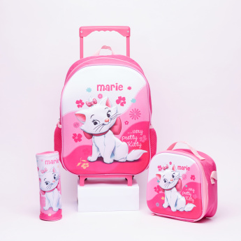Marie the Cat Printed 3-Piece Trolley Backpack Set