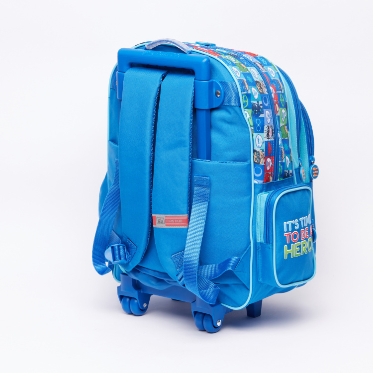 PJ Masks Printed Trolley Backpack with Zip Closure