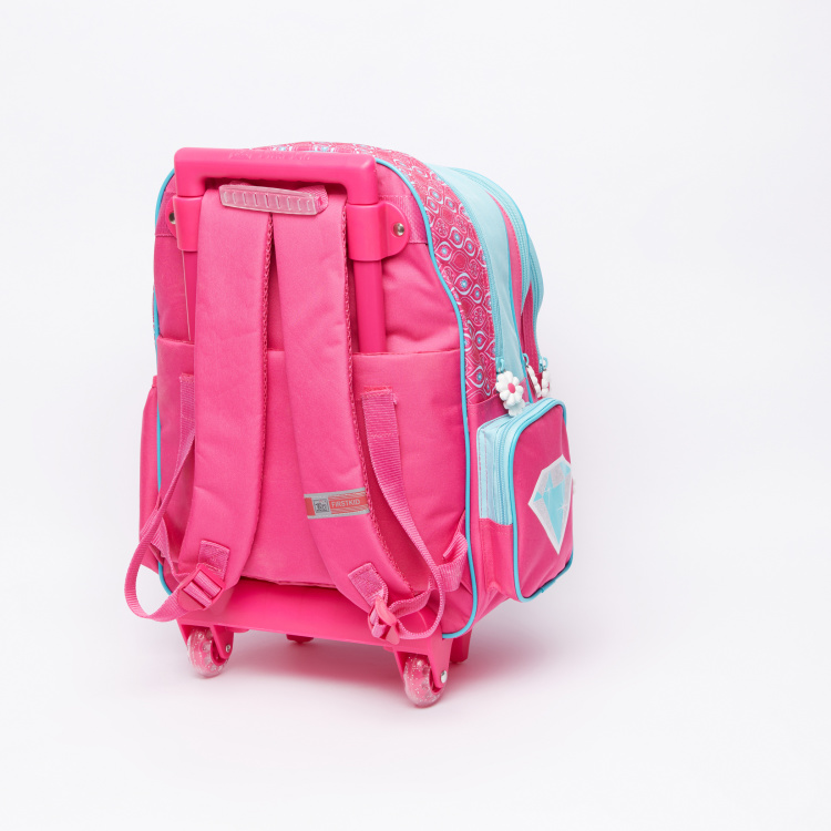 Shimmer and Shine Printed Trolley Backpack with Zip Closure