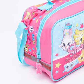 Shopkins Printed Lunch Bag with Zip Closure and Adjustable Strap