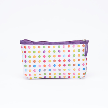 Polka Dots Printed Backpack with Pencil Case