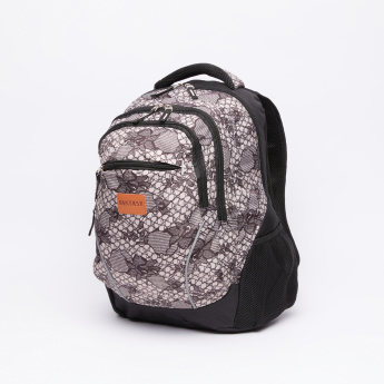 Printed Backpack with Zip Closure and Pencil Case