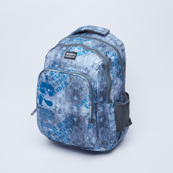 Printed Backpack with Mesh Pocket