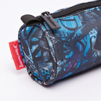 Printed Round Pencil Case with Zip Closure