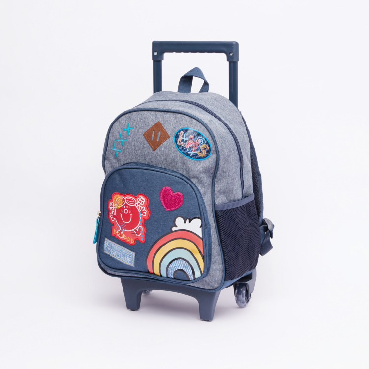 Mr. Men & Little Miss Printed Trolley Backpack with Zip Closure