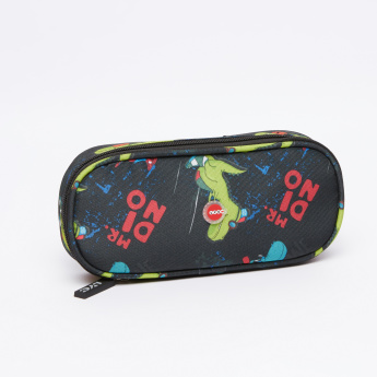 LYC SAC Mr. Dinosaur Printed Oval Pencil Pouch with Zip Closure