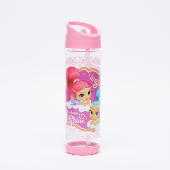 Shimmer and Shine Printed Water Bottle with Straw - 500 ml