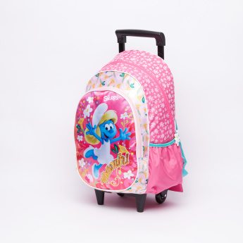 The Smurfs Printed Trolley Backpack with Zip Closure