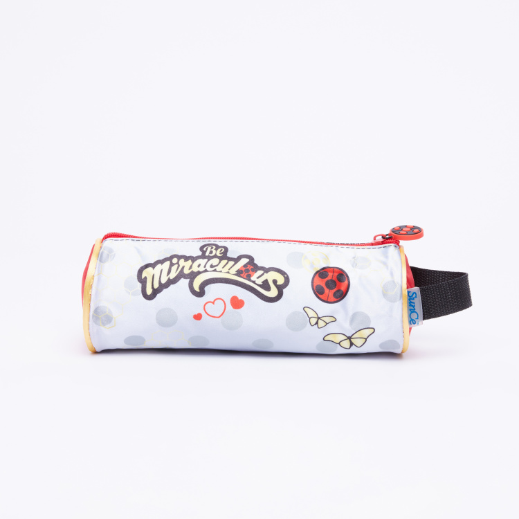 Miraculous Ladybug Printed Round Pencil Case with Zip Closure