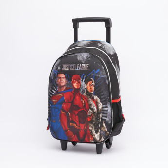 Justice League Printed Trolley Backpack with Zip Closure