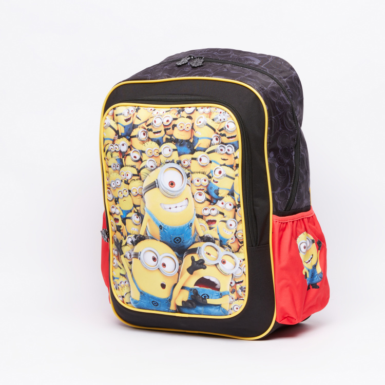 Minions Printed Backpack with Zip Closure and Adjsutable Straps