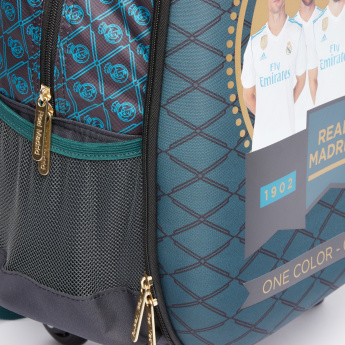 Real Madrid Printed Trolley Backpack with Zip Closure