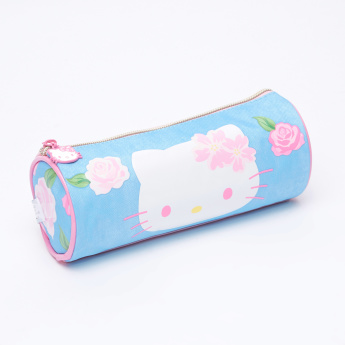 Hello Kitty Printed Round Pencil Case with Zip Closure