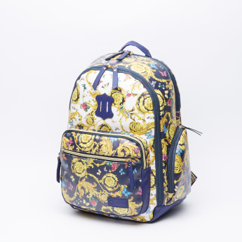 Printed Backpack with Padded Straps and Zip Closure