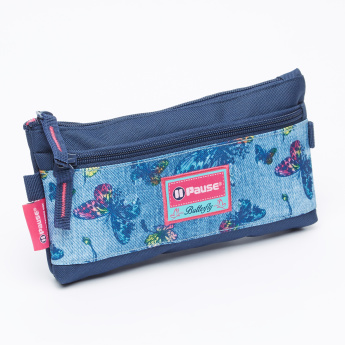 Pause Printed Pencil Case with Zip Closure