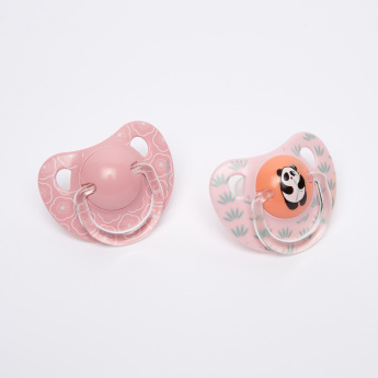 Suavinex Panda Printed Soother with Handle - Set of 2