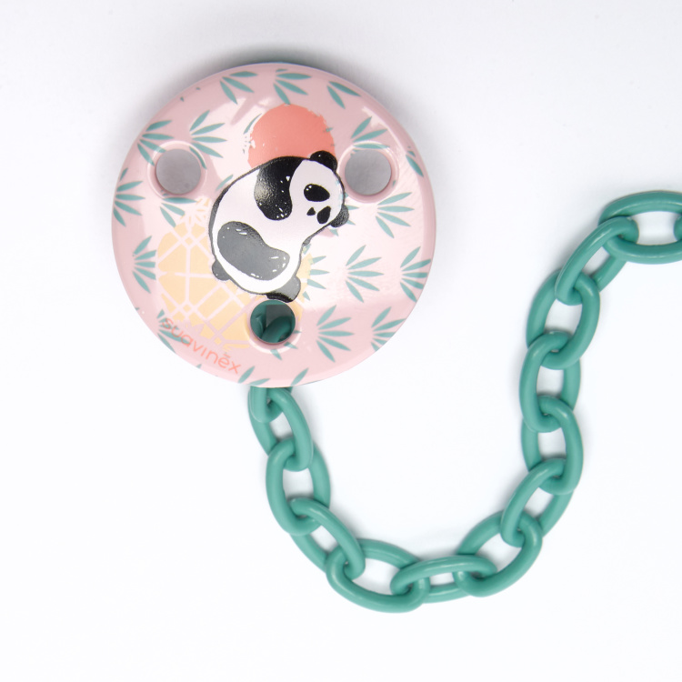 Suavinex Panda Printed Soother Clip and Chain