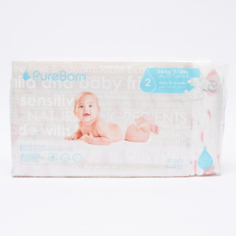 Pure Born Diaper - 32 Pieces