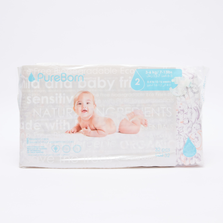 Pure Born Size 2, 32-Diapers Pack - 3-6 kgs