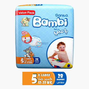 Bambi X-Large 28-Piece Size 5 Value Pack Diapers