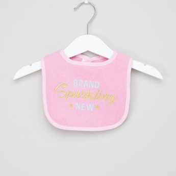 Luvable Friends Embroidered Bib with Hook and Loop Closure