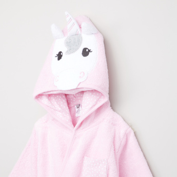 Hudson Baby Unicorn Hood Bathrobe with Long Sleeves