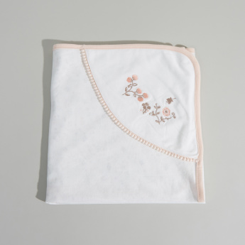 Juniors Embroidered Receiving Blanket with Hood - 80x80 cms
