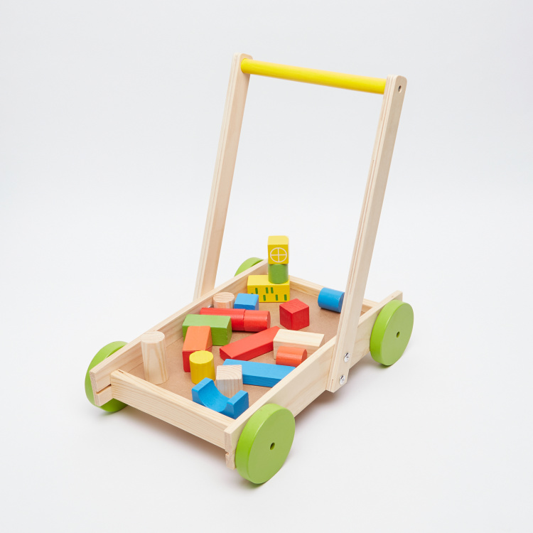 Juniors Wooden Trolley with Building Blocks