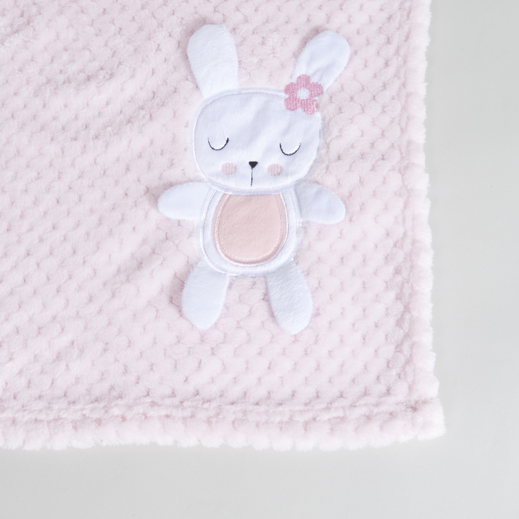 Waffle Textured 3D Bunny Applique Blanket - 80x110 cms
