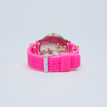 Charmz Studded Wristwatch with Textured Belt