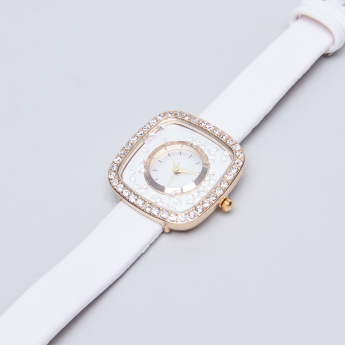 Charmz Crystal Studded Wristwatch with Pin Buckle