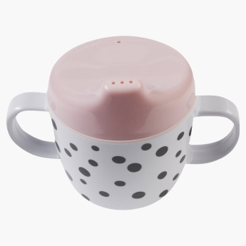 Done by Deer Polka Dot Printed Cup with Spout and Handle