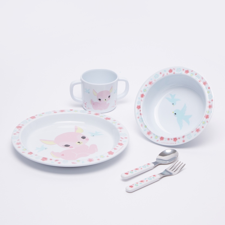 A Little Lovely Company Deer Printed 5-Piece Dinner Set