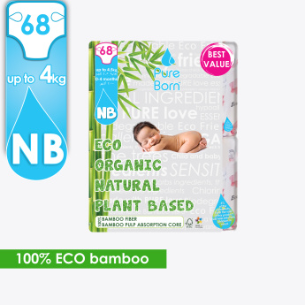 Pure Born Eco Organic 68-Piece Baby Diapers